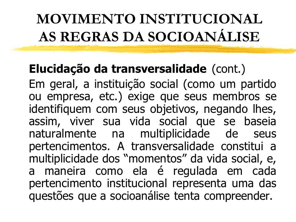 MOVIMENTO INSTITUCIONAL AS REGRAS DA SOCIOANÁLISE Elucidação da transversalidade (cont.) Em geral, a instituição social (como um partido ou empresa, e