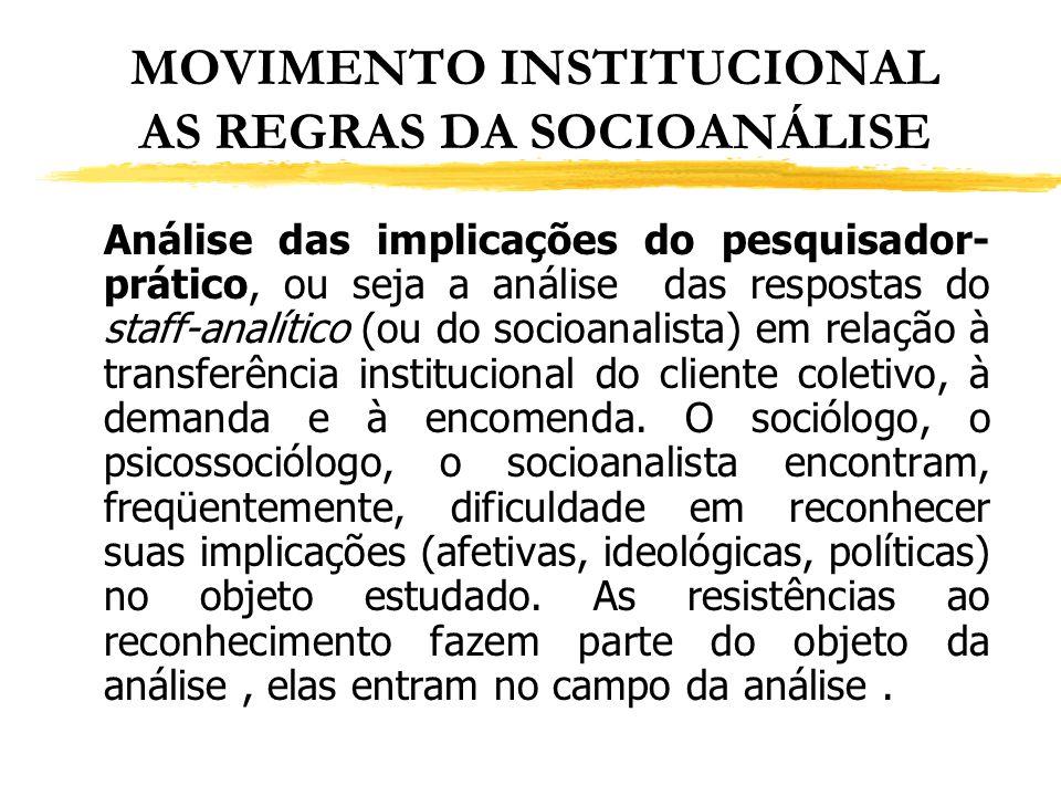 MOVIMENTO INSTITUCIONAL AS REGRAS DA SOCIOANÁLISE Análise das implicações do pesquisador- prático, ou seja a análise das respostas do staff-analítico