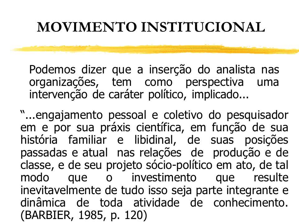 MOVIMENTO INSTITUCIONAL Podemos dizer que a inserção do analista nas organizações, tem como perspectiva uma intervenção de caráter político, implicado