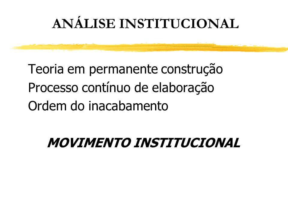 ANÁLISE INSTITUCIONAL Teoria em permanente construção Processo contínuo de elaboração Ordem do inacabamento MOVIMENTO INSTITUCIONAL