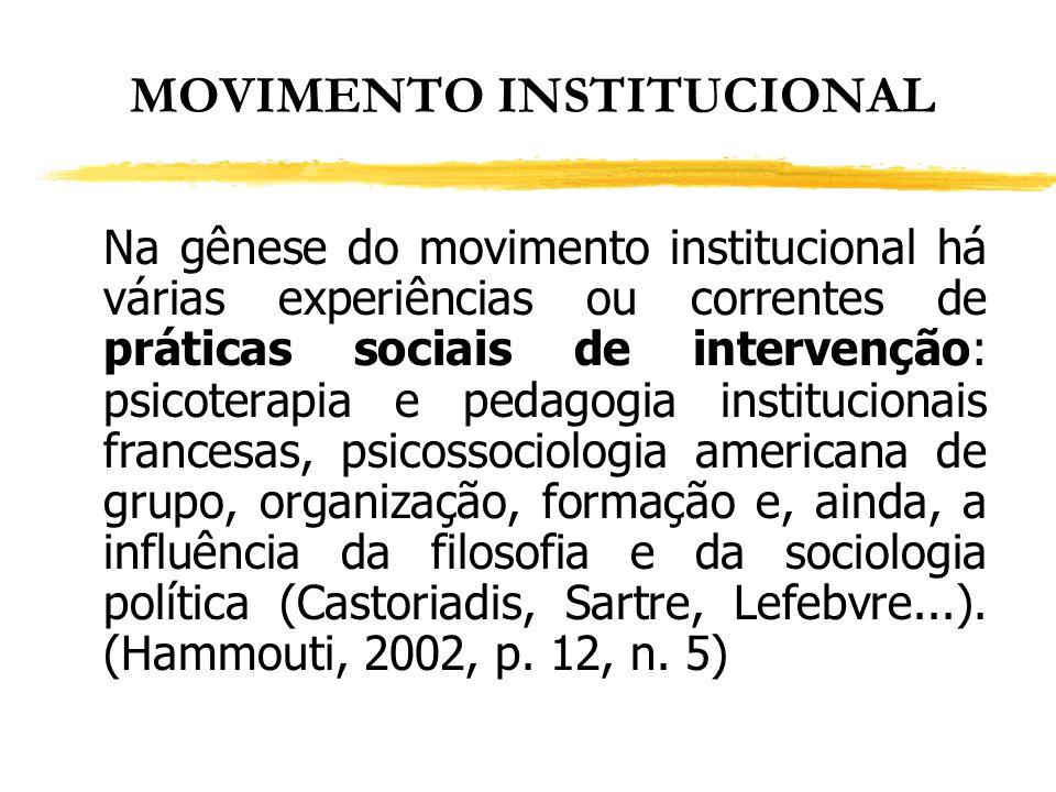 MOVIMENTO INSTITUCIONAL Na gênese do movimento institucional há várias experiências ou correntes de práticas sociais de intervenção: psicoterapia e pe