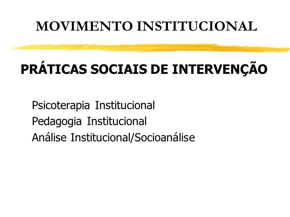 MOVIMENTO INSTITUCIONAL PRÁTICAS SOCIAIS DE INTERVENÇÃO Psicoterapia Institucional Pedagogia Institucional Análise Institucional/Socioanálise
