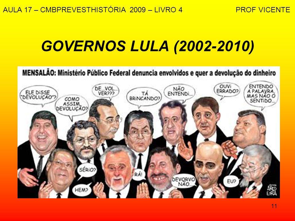 11 GOVERNOS LULA (2002-2010) AULA 17 – CMBPREVESTHISTÓRIA 2009 – LIVRO 4 PROF VICENTE