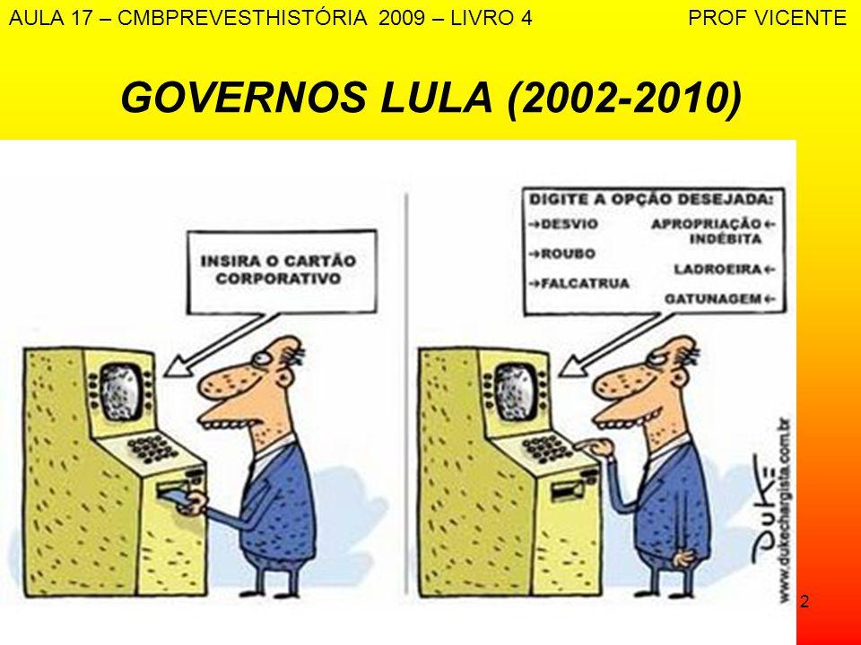 12 GOVERNOS LULA (2002-2010) AULA 17 – CMBPREVESTHISTÓRIA 2009 – LIVRO 4 PROF VICENTE