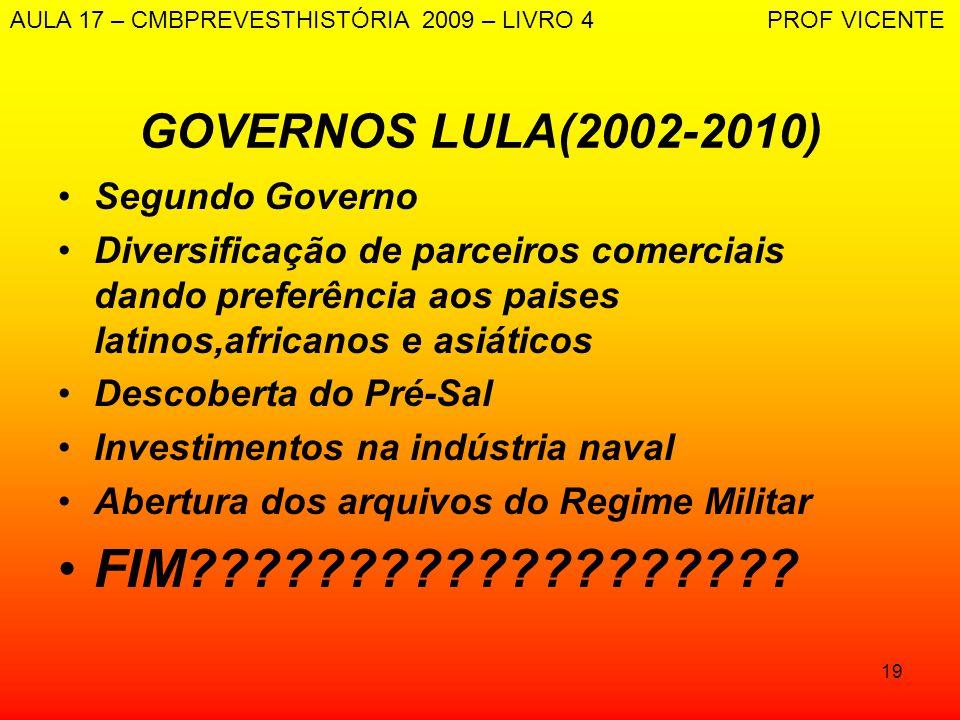 19 GOVERNOS LULA(2002-2010) Segundo Governo Diversificação de parceiros comerciais dando preferência aos paises latinos,africanos e asiáticos Descober