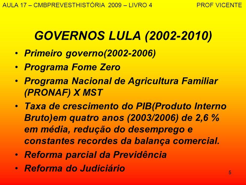 5 GOVERNOS LULA (2002-2010) Primeiro governo(2002-2006) Programa Fome Zero Programa Nacional de Agricultura Familiar (PRONAF) X MST Taxa de cresciment