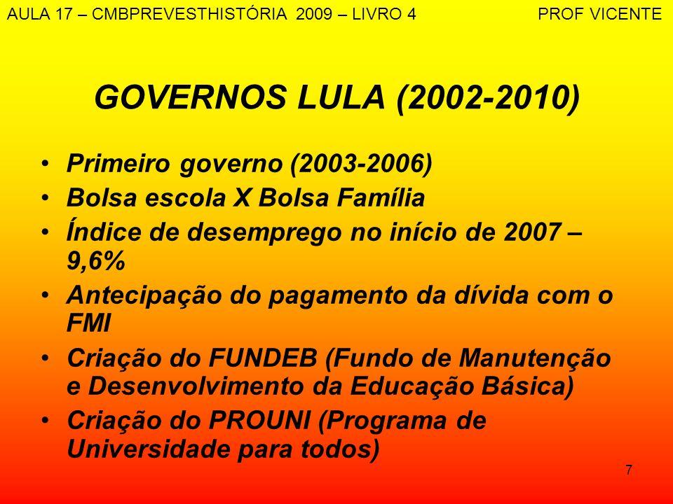 7 GOVERNOS LULA (2002-2010) Primeiro governo (2003-2006) Bolsa escola X Bolsa Família Índice de desemprego no início de 2007 – 9,6% Antecipação do pag