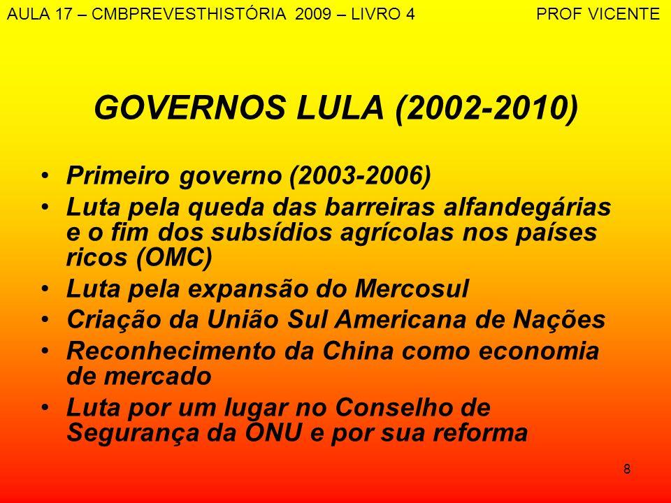 8 GOVERNOS LULA (2002-2010) Primeiro governo (2003-2006) Luta pela queda das barreiras alfandegárias e o fim dos subsídios agrícolas nos países ricos
