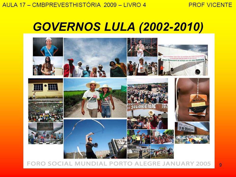 9 GOVERNOS LULA (2002-2010) AULA 17 – CMBPREVESTHISTÓRIA 2009 – LIVRO 4 PROF VICENTE