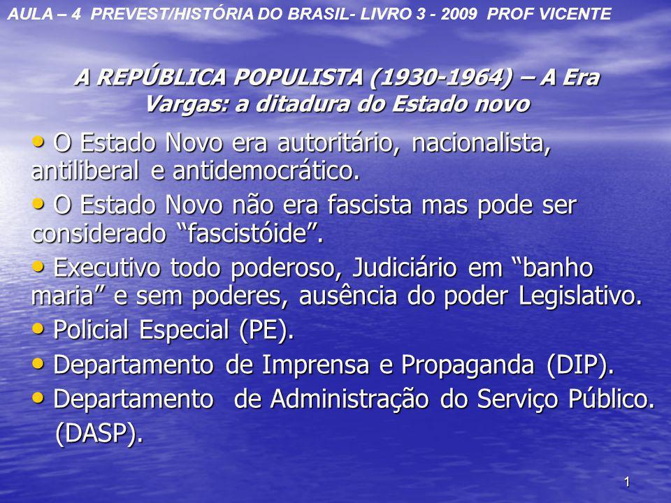 1 A REPÚBLICA POPULISTA (1930-1964) – A Era Vargas: a ditadura do Estado novo O Estado Novo era autoritário, nacionalista, antiliberal e antidemocráti