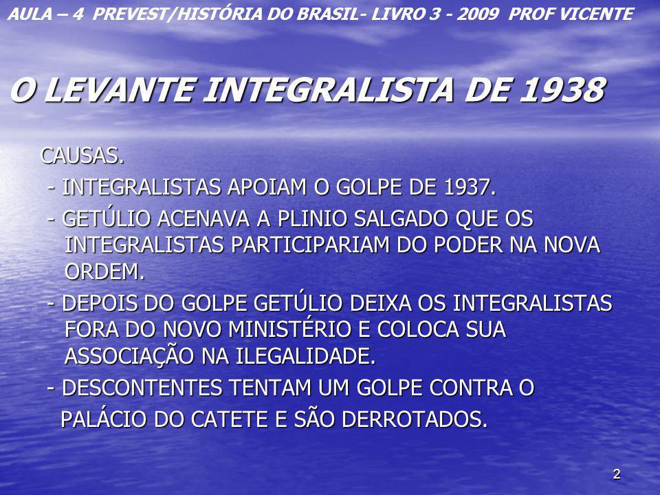 2 O LEVANTE INTEGRALISTA DE 1938 CAUSAS. - INTEGRALISTAS APOIAM O GOLPE DE 1937. - INTEGRALISTAS APOIAM O GOLPE DE 1937. - GETÚLIO ACENAVA A PLINIO SA