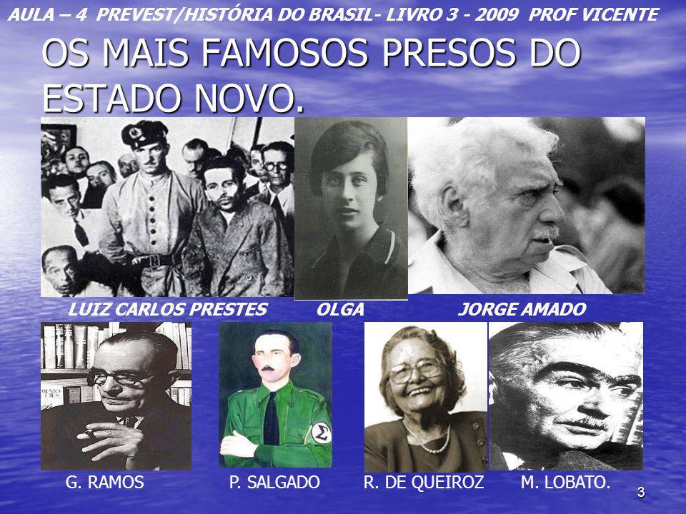 3 OS MAIS FAMOSOS PRESOS DO ESTADO NOVO. LUIZ CARLOS PRESTES OLGA JORGE AMADO G. RAMOS P. SALGADO R. DE QUEIROZ M. LOBATO. AULA – 4 PREVEST/HISTÓRIA D