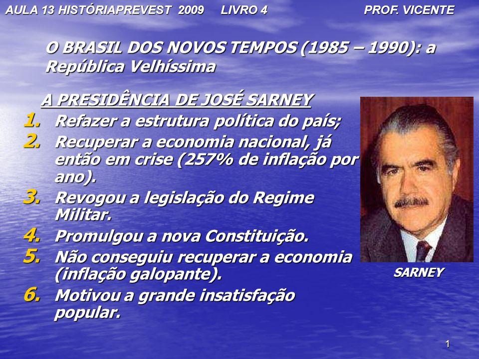1 O BRASIL DOS NOVOS TEMPOS (1985 – 1990): a República Velhíssima A PRESIDÊNCIA DE JOSÉ SARNEY A PRESIDÊNCIA DE JOSÉ SARNEY 1. Refazer a estrutura pol