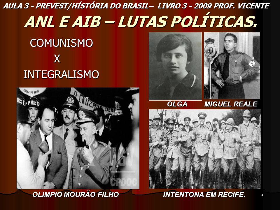 4 ANL E AIB – LUTAS POLÍTICAS. COMUNISMO COMUNISMO X INTEGRALISMO INTEGRALISMO AULA 3 - PREVEST/HÍSTÓRIA DO BRASIL– LIVRO 3 - 2009 PROF. VICENTE OLIMP
