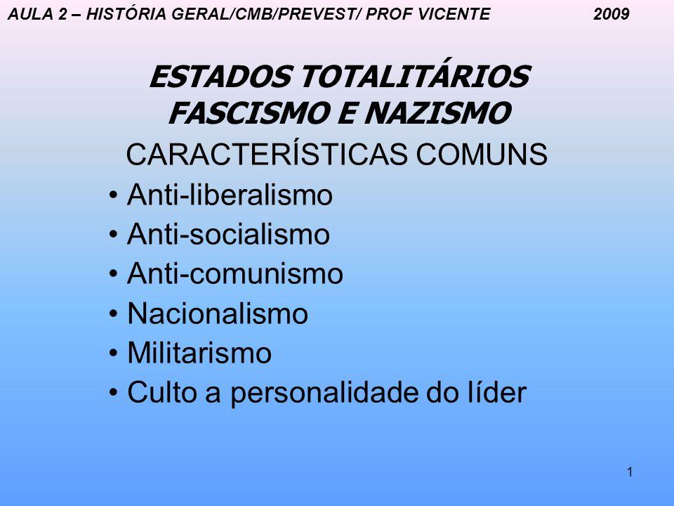 1 ESTADOS TOTALITÁRIOS FASCISMO E NAZISMO CARACTERÍSTICAS COMUNS Anti-liberalismo Anti-socialismo Anti-comunismo Nacionalismo Militarismo Culto a pers