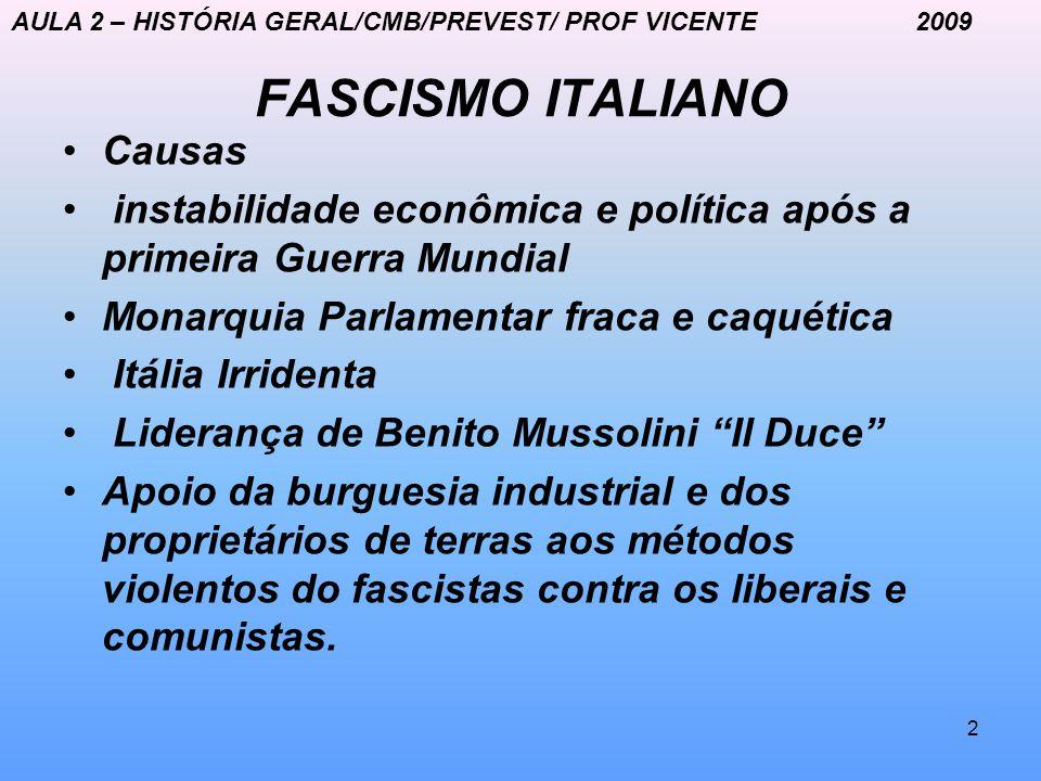 2 FASCISMO ITALIANO Causas instabilidade econômica e política após a primeira Guerra Mundial Monarquia Parlamentar fraca e caquética Itália Irridenta