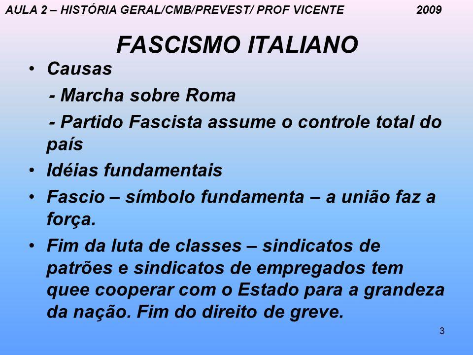 3 FASCISMO ITALIANO Causas - Marcha sobre Roma - Partido Fascista assume o controle total do país Idéias fundamentais Fascio – símbolo fundamenta – a