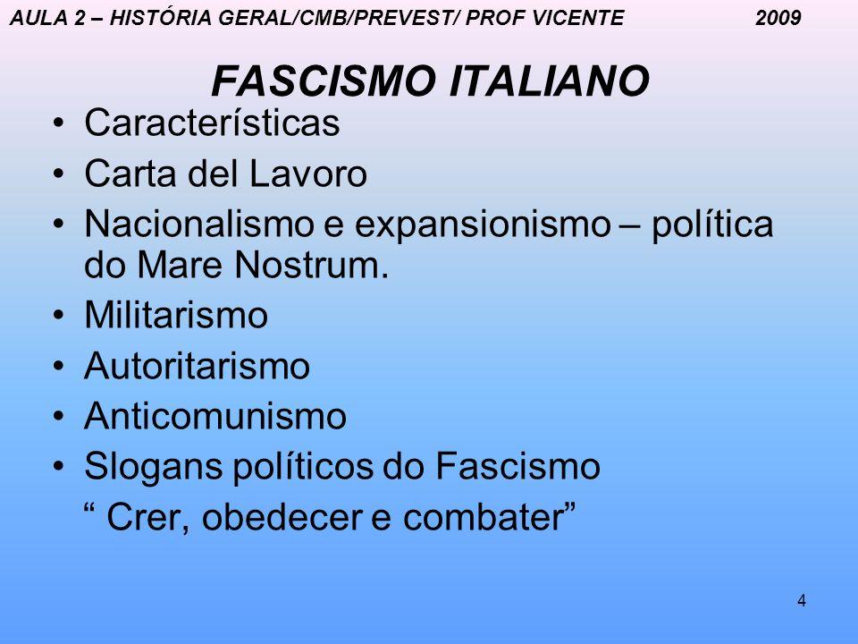 4 FASCISMO ITALIANO Características Carta del Lavoro Nacionalismo e expansionismo – política do Mare Nostrum. Militarismo Autoritarismo Anticomunismo