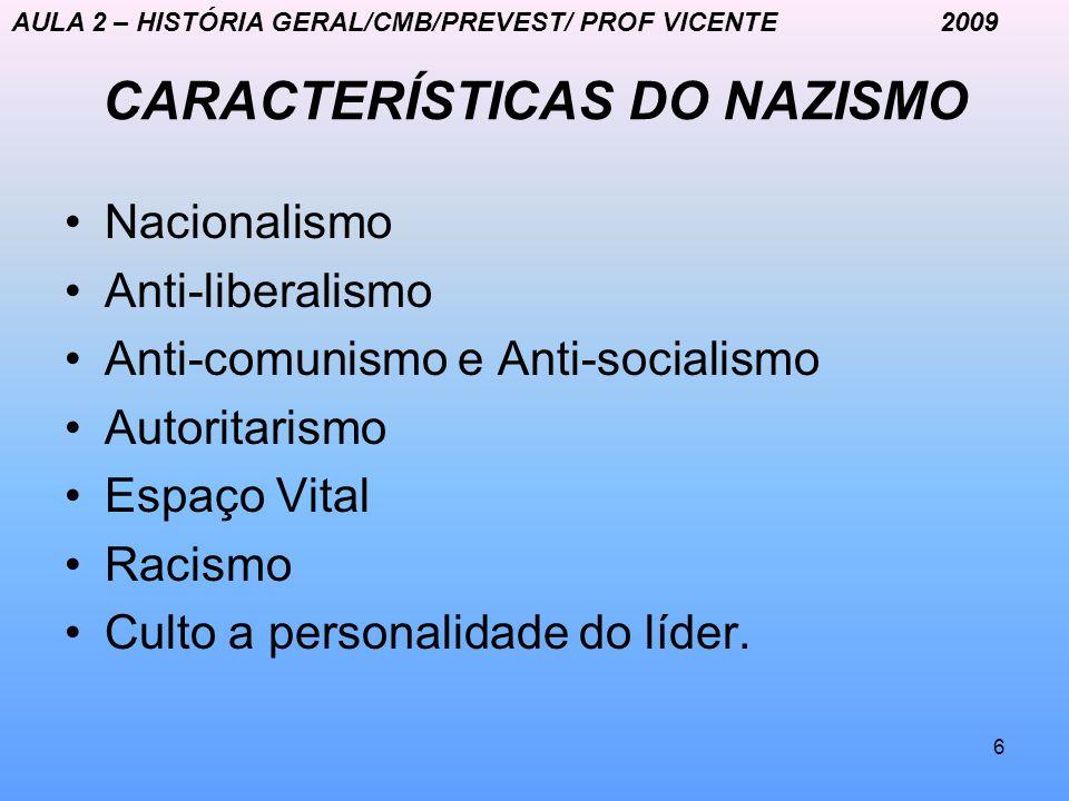 6 CARACTERÍSTICAS DO NAZISMO Nacionalismo Anti-liberalismo Anti-comunismo e Anti-socialismo Autoritarismo Espaço Vital Racismo Culto a personalidade d