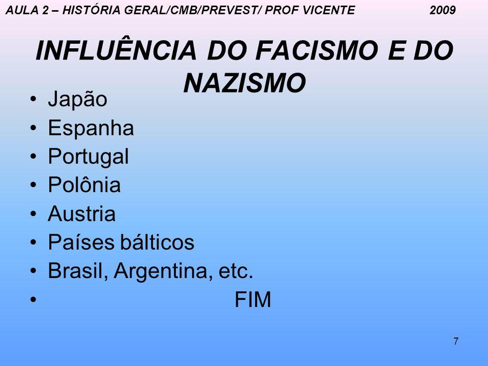 7 INFLUÊNCIA DO FACISMO E DO NAZISMO Japão Espanha Portugal Polônia Austria Países bálticos Brasil, Argentina, etc. FIM AULA 2 – HISTÓRIA GERAL/CMB/PR