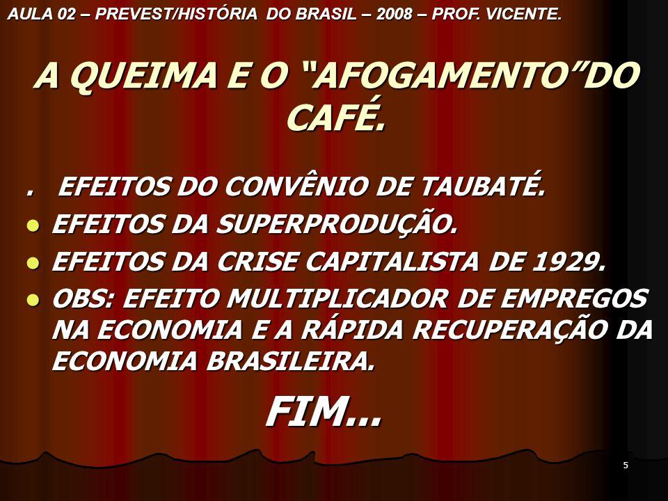 4 A NOVA POLÍTICA DE DEFESA DO CAFÉ. AULA 02 – PREVEST/HISTÓRIA DO BRASIL– 2008– PROF VICENTE.