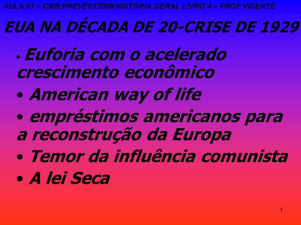 1 EUA NA DÉCADA DE 20-CRISE DE 1929 Euforia com o acelerado crescimento econômico American way of life empréstimos americanos para a reconstrução da Europa Temor da influência comunista A lei Seca AULA 01 – CMB/PREVEST2009/HISTÓRIA GERAL LIVRO 4 – PROF VICENTE