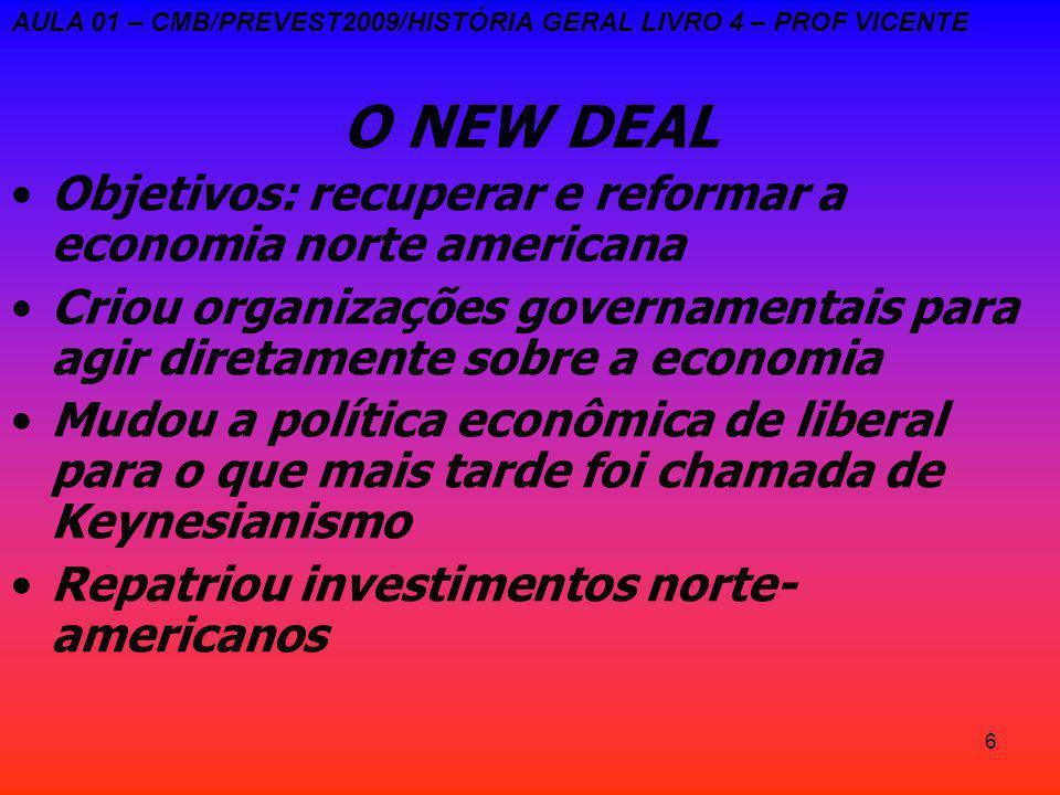 6 O NEW DEAL Objetivos: recuperar e reformar a economia norte americana Criou organizações governamentais para agir diretamente sobre a economia Mudou a política econômica de liberal para o que mais tarde foi chamada de Keynesianismo Repatriou investimentos norte- americanos AULA 01 – CMB/PREVEST2009/HISTÓRIA GERAL LIVRO 4 – PROF VICENTE