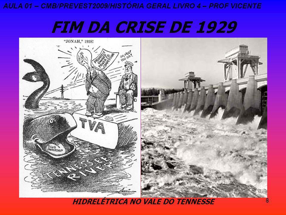 8 FIM DA CRISE DE 1929 AULA 01 – CMB/PREVEST2009/HISTÓRIA GERAL LIVRO 4 – PROF VICENTE HIDRELÉTRICA NO VALE DO TENNESSE