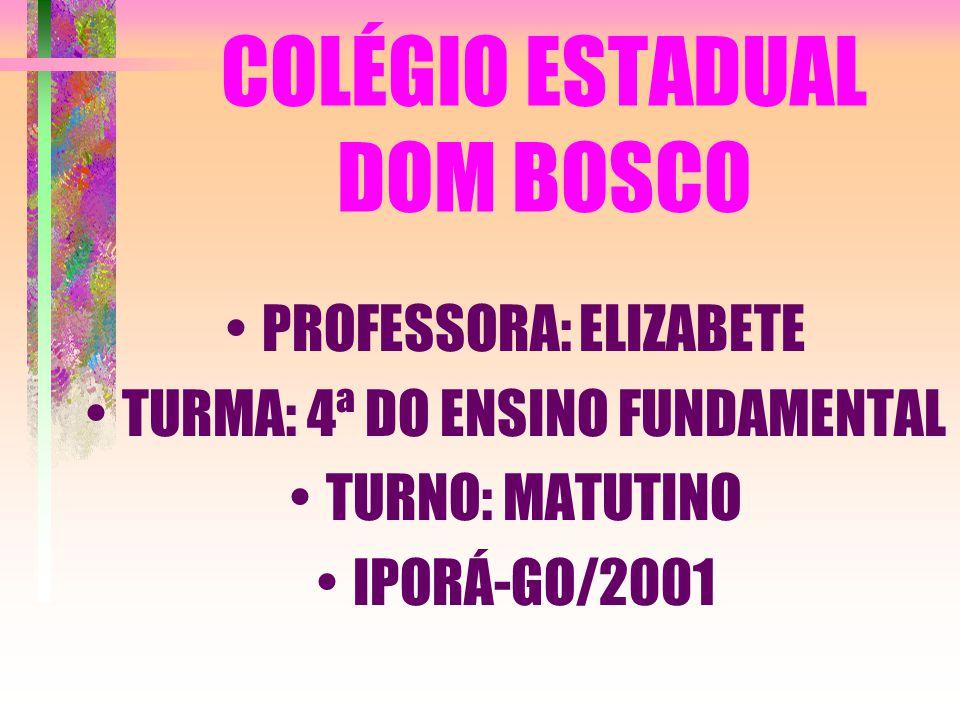 COLÉGIO ESTADUAL DOM BOSCO PROFESSORA: ELIZABETE TURMA: 4ª DO ENSINO FUNDAMENTAL TURNO: MATUTINO IPORÁ-GO/2001