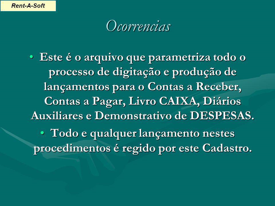 Ocorrencias Este é o arquivo que parametriza todo o processo de digitação e produção de lançamentos para o Contas a Receber, Contas a Pagar, Livro CAI