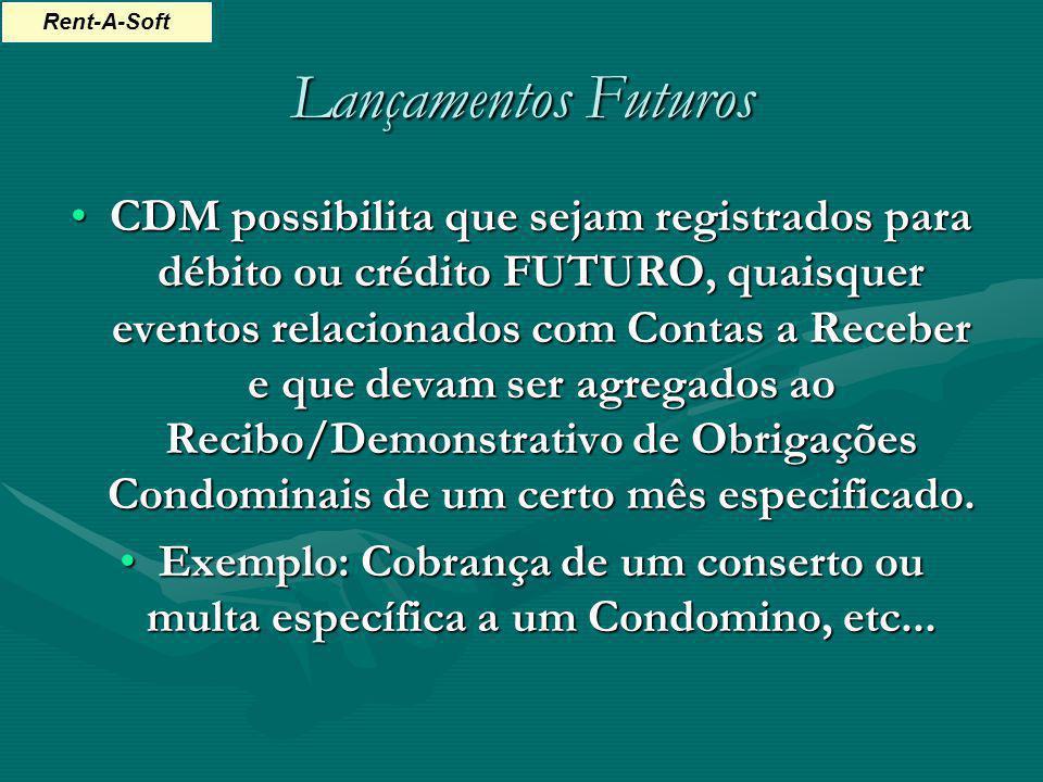 Lançamentos Futuros CDM possibilita que sejam registrados para débito ou crédito FUTURO, quaisquer eventos relacionados com Contas a Receber e que dev