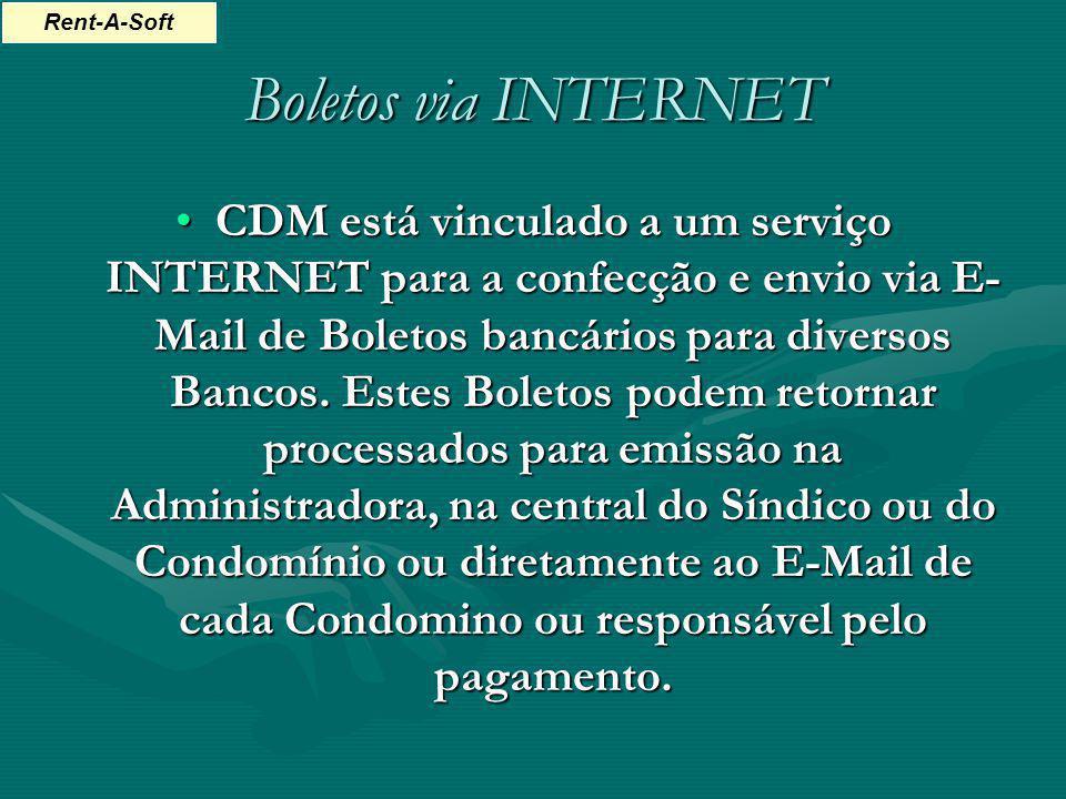 Boletos via INTERNET CDM está vinculado a um serviço INTERNET para a confecção e envio via E- Mail de Boletos bancários para diversos Bancos. Estes Bo