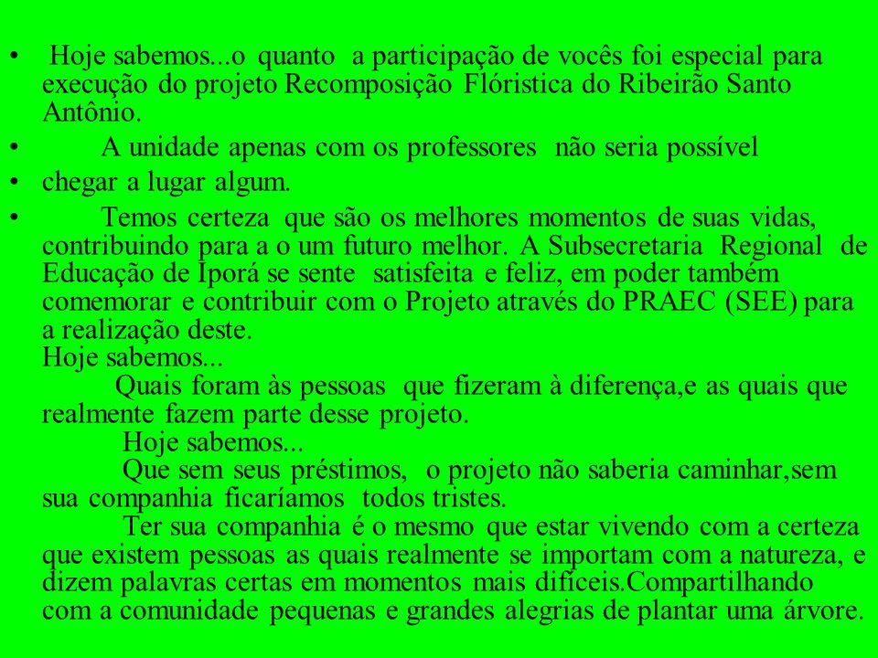 Hoje sabemos...o quanto a participação de vocês foi especial para execução do projeto Recomposição Flóristica do Ribeirão Santo Antônio. A unidade ape