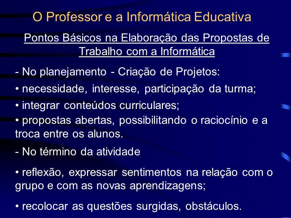O Professor e a Informática Educativa A importância do trabalho em grupo; Conexões entre as categorias de pensamento e entre os conteúdos significativ