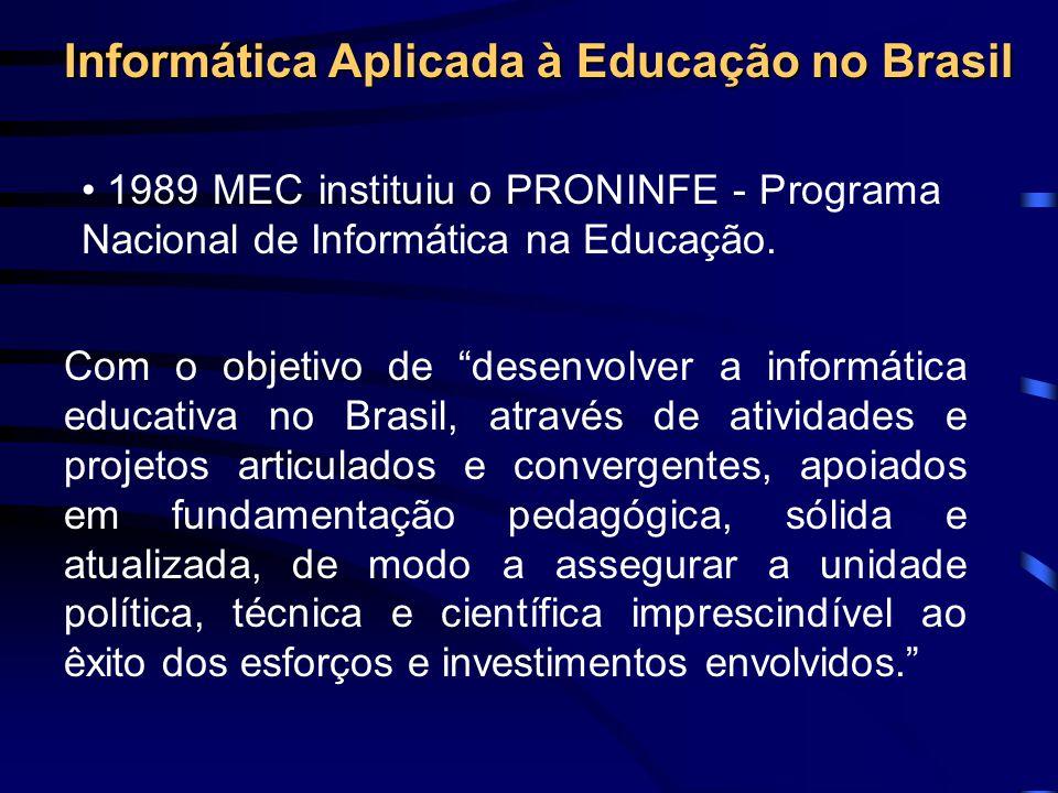 MEC criou, em 1986, o Projeto FORMAR para capacitar professores. Universidades - Centro de Informática na Educação Superior - CIES. Implantou infra-es