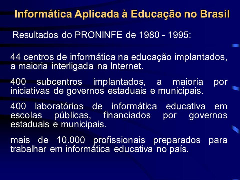 Com o objetivo de desenvolver a informática educativa no Brasil, através de atividades e projetos articulados e convergentes, apoiados em fundamentaçã