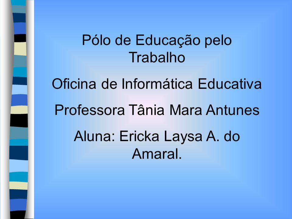 Pólo de Educação pelo Trabalho Oficina de Informática Educativa Professora Tânia Mara Antunes Aluna: Ericka Laysa A. do Amaral.