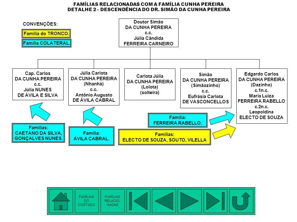 FAMÍLIAS RELACIONADAS COM A FAMÍLIA CUNHA PEREIRA DETALHE 1 - DESCENDÊNCIA DE FRANCISCO ANTÔNIO DA SILVEIRA Família: SILVEIRA. Famílias: CUNHA PEREIRA