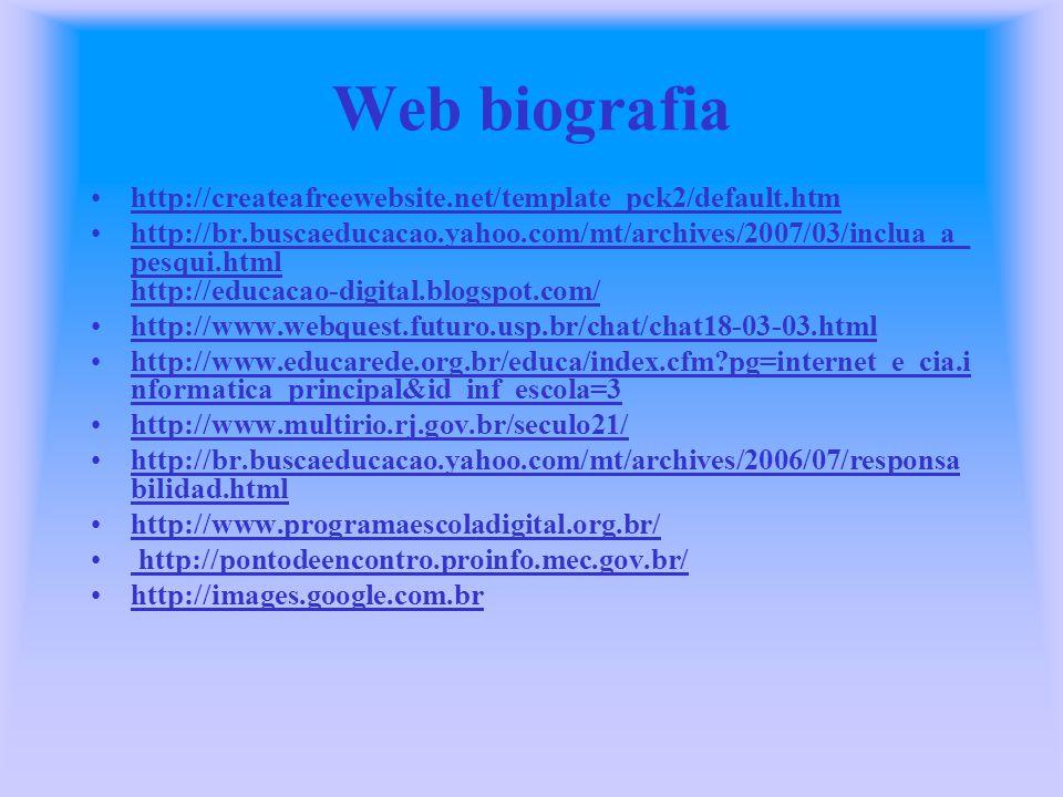 Web biografia http://createafreewebsite.net/template_pck2/default.htm http://br.buscaeducacao.yahoo.com/mt/archives/2007/03/inclua_a_ pesqui.html http