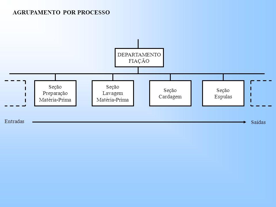 AGRUPAMENTO POR PROCESSO DEPARTAMENTO FIAÇÃO Seção Preparação Matéria-Prima Seção Espulas Seção Cardagem Seção Lavagem Matéria-Prima Entradas Saídas