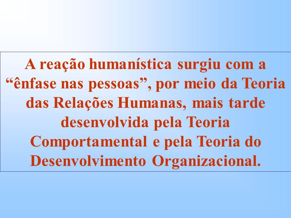 A reação humanística surgiu com a ênfase nas pessoas, por meio da Teoria das Relações Humanas, mais tarde desenvolvida pela Teoria Comportamental e pela Teoria do Desenvolvimento Organizacional.