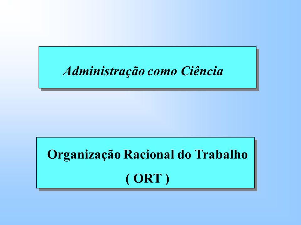 Organização Racional do Trabalho ( ORT ) Administração como Ciência