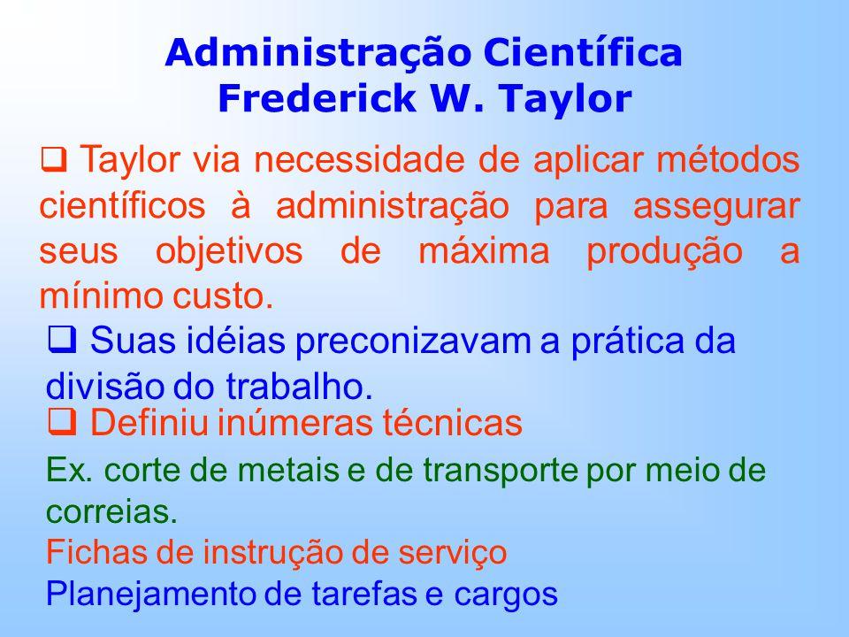 Taylor via necessidade de aplicar métodos científicos à administração para assegurar seus objetivos de máxima produção a mínimo custo.