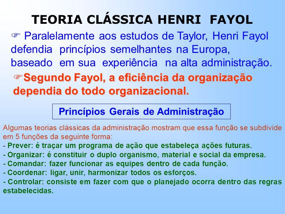 Paralelamente aos estudos de Taylor, Henri Fayol defendia princípios semelhantes na Europa, baseado em sua experiência na alta administração.