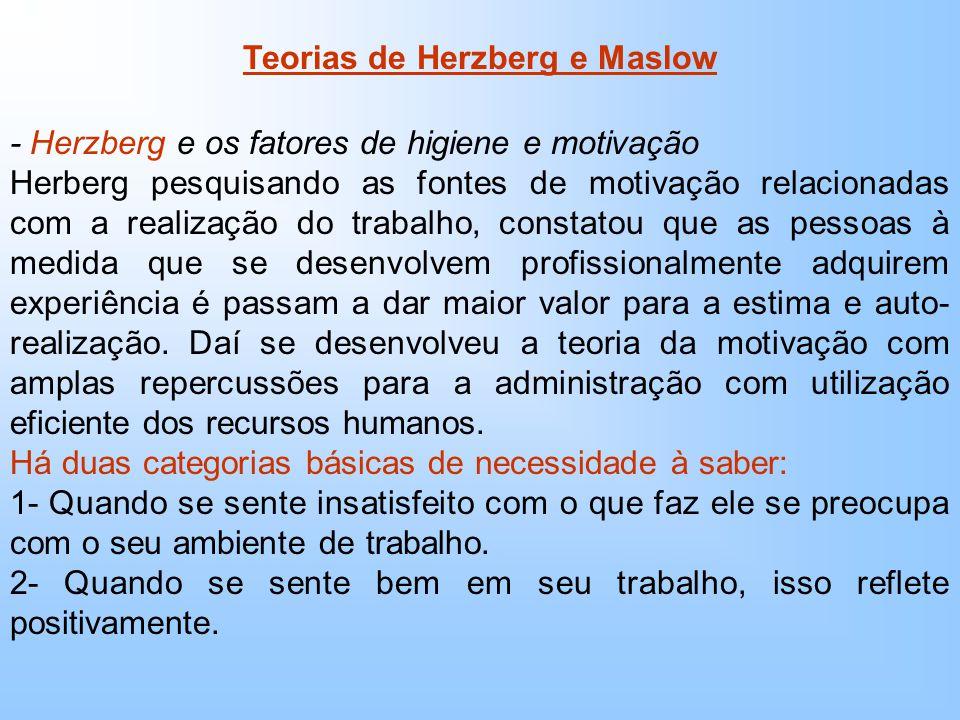 Teorias de Herzberg e Maslow - Herzberg e os fatores de higiene e motivação Herberg pesquisando as fontes de motivação relacionadas com a realização do trabalho, constatou que as pessoas à medida que se desenvolvem profissionalmente adquirem experiência é passam a dar maior valor para a estima e auto- realização.
