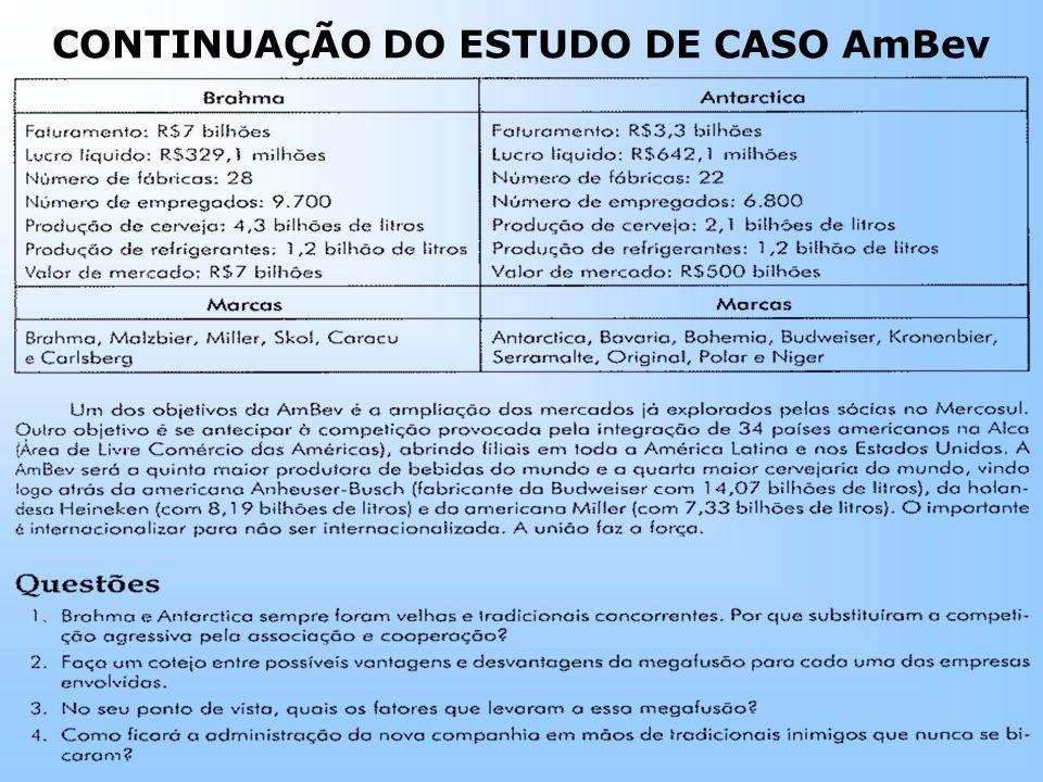 CONTINUAÇÃO DO ESTUDO DE CASO AmBev