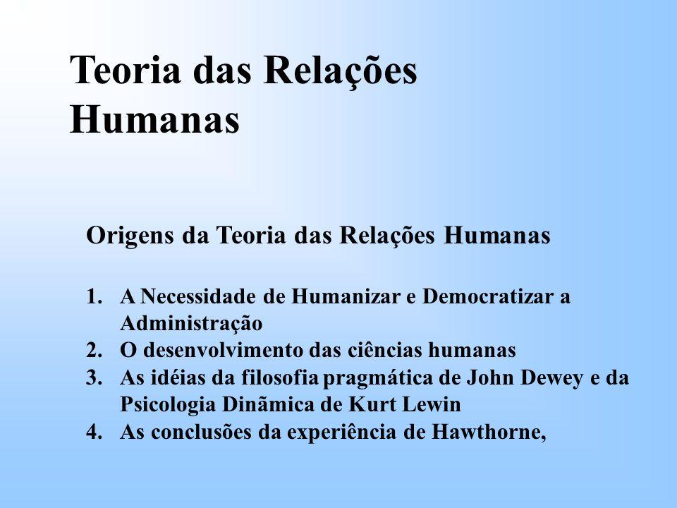 Teoria das Relações Humanas Origens da Teoria das Relações Humanas 1.A Necessidade de Humanizar e Democratizar a Administração 2.O desenvolvimento das ciências humanas 3.As idéias da filosofia pragmática de John Dewey e da Psicologia Dinãmica de Kurt Lewin 4.As conclusões da experiência de Hawthorne,