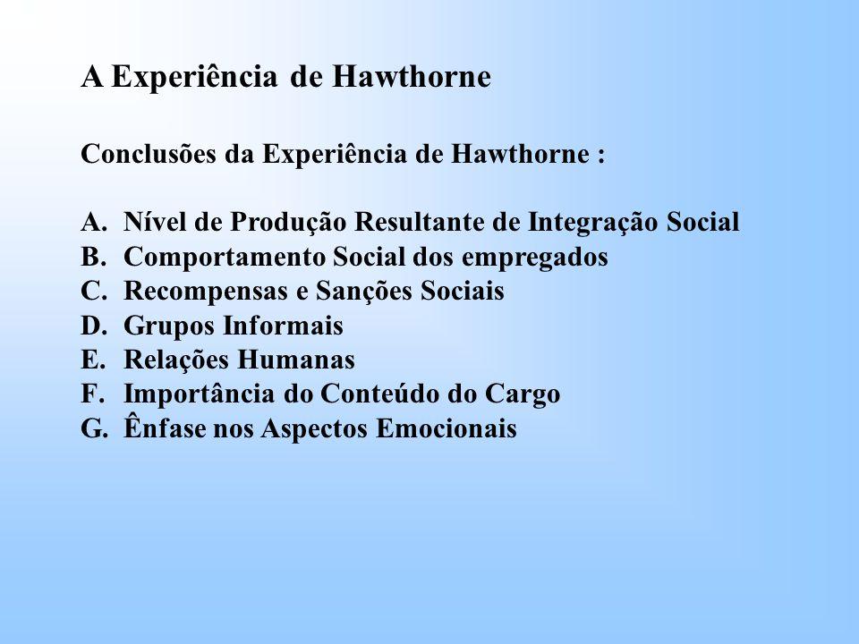 A Experiência de Hawthorne Conclusões da Experiência de Hawthorne : A.Nível de Produção Resultante de Integração Social B.Comportamento Social dos empregados C.Recompensas e Sanções Sociais D.Grupos Informais E.Relações Humanas F.Importância do Conteúdo do Cargo G.Ênfase nos Aspectos Emocionais