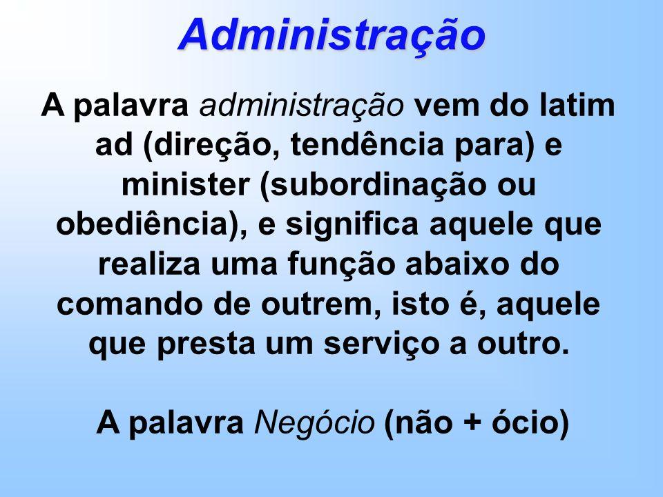A palavra administração vem do latim ad (direção, tendência para) e minister (subordinação ou obediência), e significa aquele que realiza uma função abaixo do comando de outrem, isto é, aquele que presta um serviço a outro.