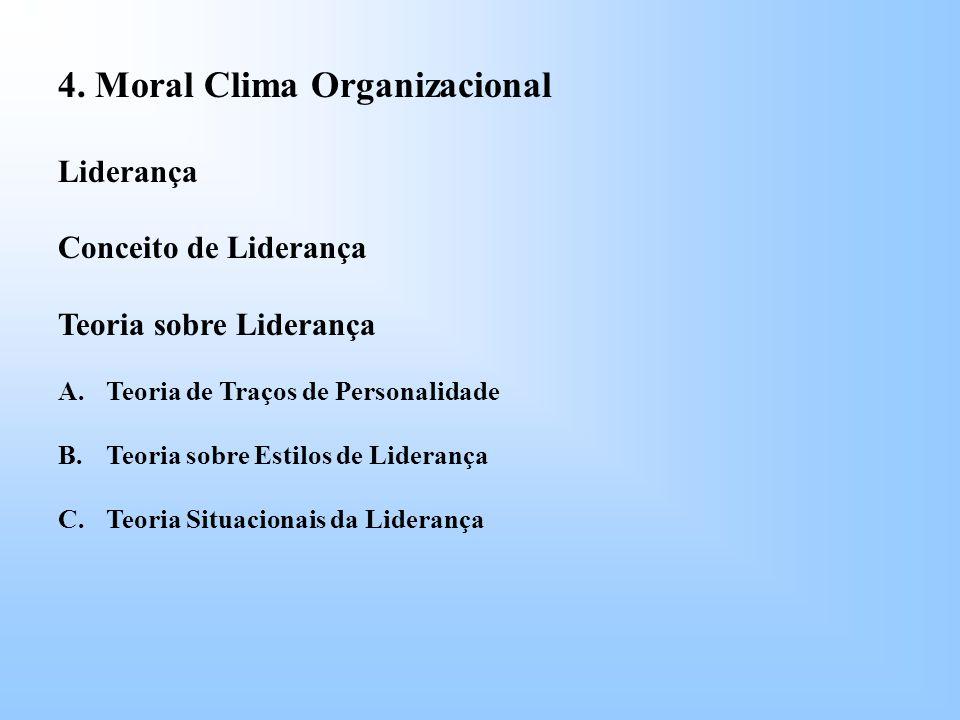 4. Moral Clima Organizacional Liderança Conceito de Liderança Teoria sobre Liderança A.Teoria de Traços de Personalidade B.Teoria sobre Estilos de Lid